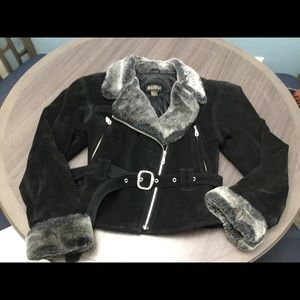 Awina suede and fur jacket with belt Medium